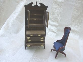 Chippendale Secretary  w/Swivel Chair Doll Furniture