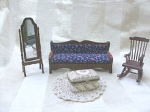Doll Furniture Couch, Rocking Chair, Stand Mirror +