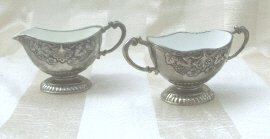 Vintage Children's  Silver Cream & Sugar Set