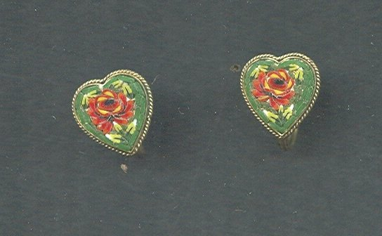 Antique Micro Mosaic Heart Earrings