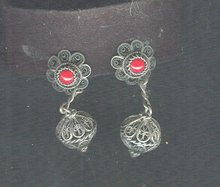 Vintage Silver Fillagree & Coral Earrings