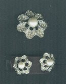 Vintage Stylized Flower Brooch & Earring Set  **LOOK**