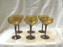 Vintage Hand Blown Amber Glass Stemware  (6 Pc)