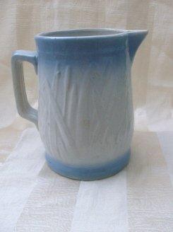Vintage Blue & White Stoneware Pitcher