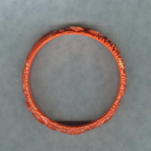 Vintage Coral Celluloid Bangle Bracelet