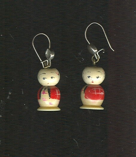 Vintage Carved Ivory Figural  Earrings