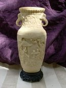 Large Vintage Norleans Imitation Carved Ivory Vase