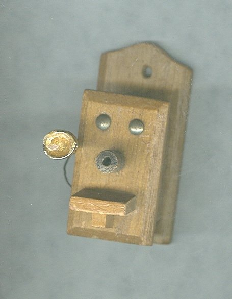 Antique Wooden Telephone Miniature