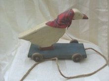 Vintage Mother Goose Wooden Pull Toy