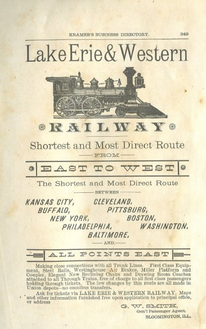 1884 Lake Erie & Western Railway Advertisement