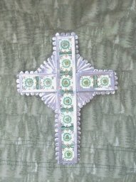Stamped Silver & Ceramic Tile Cross