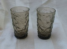 Vintage Smoky Glass Juice Glasses (Set 5)