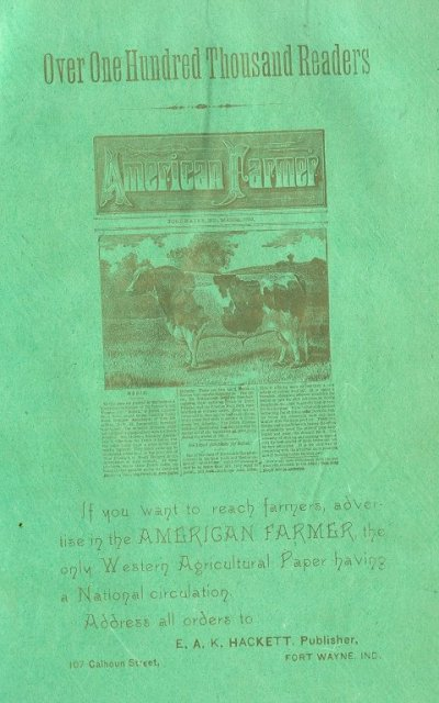 1884  American Farmer Newspaper Ad