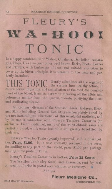 1884  Fleury's WA-HOO! Tonic Advertising   Ad