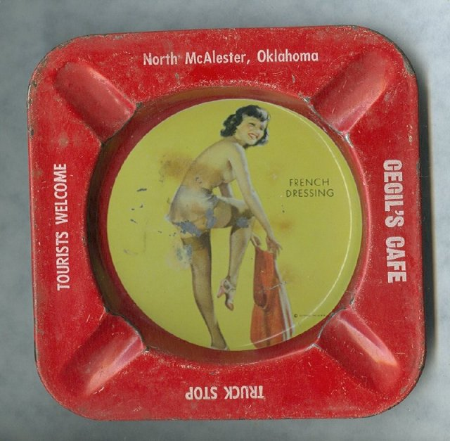 Vintage Risque French Dressing Pin Up Girl Litho Metal Astray