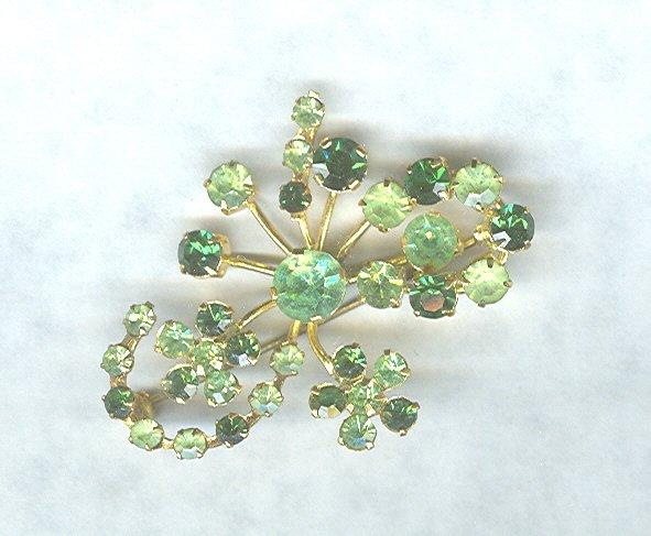 Vintage Green Rhinestone Pin *Austria