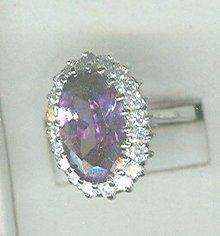 Large Oval Amethyst Costume Ring