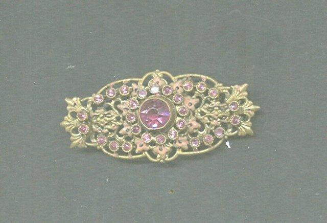 Vintage Czechoslovakia Pin w/Pink Stones