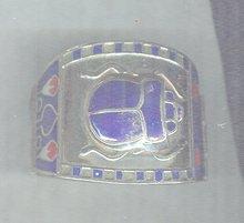 Vintage  Silver & Enamel Scarab Bangle Bracelet