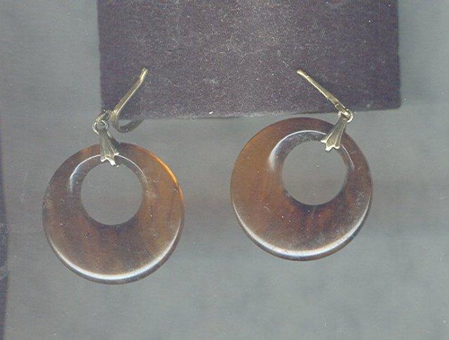 Vintage Imitation Tortoise Shell Hoop Earrings