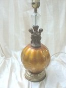 Vintage Glass & Cherub Table Lamp