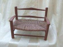 Vintage Sampler Size Bench w/Rush Seat