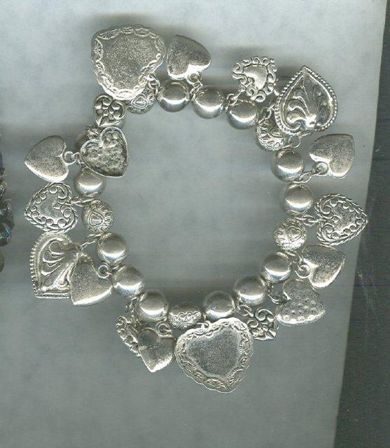 Silvertone Heart Charm Bracelet