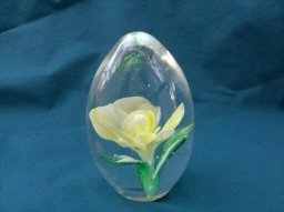 Vintage Crystal Egg Paperweight with Yellow Flower