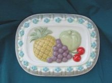 Ceramic Kitchen Mold w/Fruit Decoration