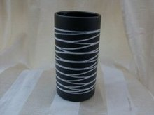 50's Modern Black Pottery Vase