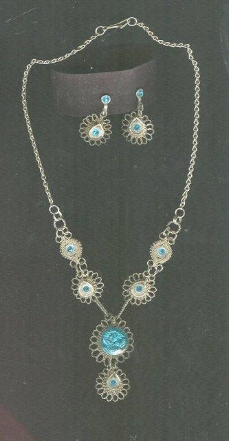 Antique Filagree & Aqua Necklace & Earrings Set **BOOK PIECE**