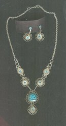 Antique Filagree & Aqua Necklace & Earrings Set **BOOK PIECE**