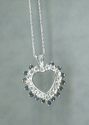 Sterling Silver & Sapphire Heart Pendant w/Chain
