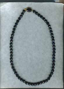 Vintage Black Glass Bead Necklace