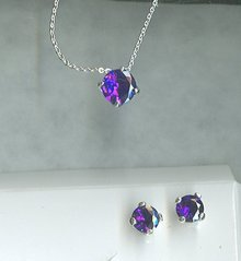 Avon Purple Earrings & Necklace Set