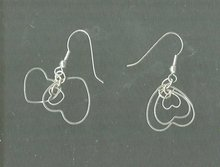 Silver Triple Heart Dangle  Earrings