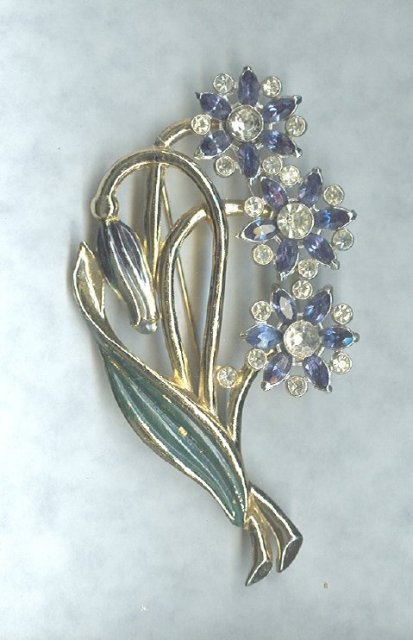 Early Coro Enamel Flower Brooch