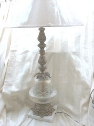 Vintage Reverse Painted Glass Table Lamp