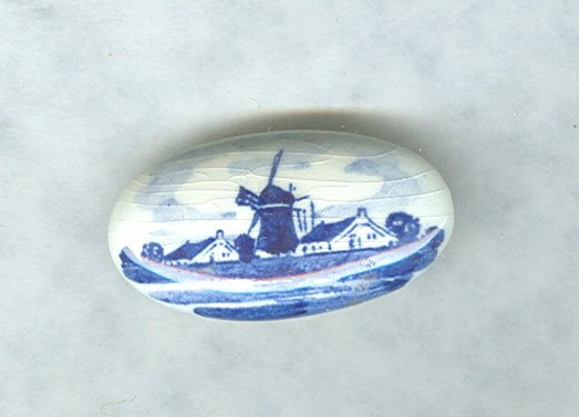 Vintage Hand Painted Blue & White Porcelain Pin