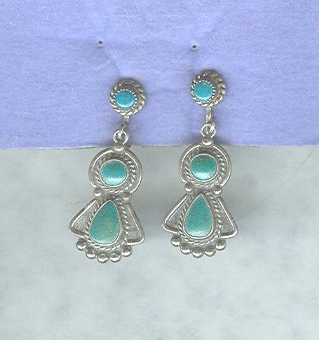 Vintage Hand Made Sterling Silver & Turquoise Earrings