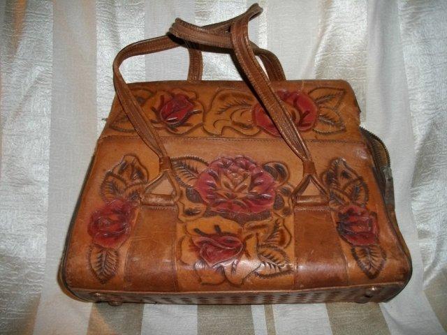 Vintage Stamped Leather Handbag Purse