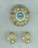 Vintage West German Brooch & Earrings Set