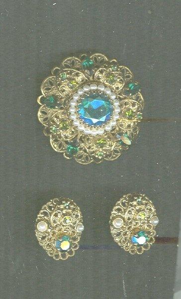 Vintage West German Brooch & Earrings Set