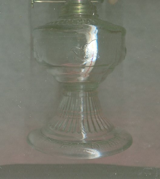 Vintage Small Glass Kerosene Lamp w/Birds
