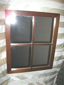 Wooden Frame Windowpane Decorative Mirror