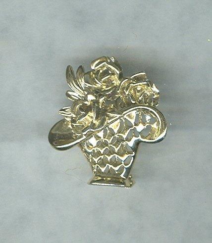 Vintage Rose Basket Pin