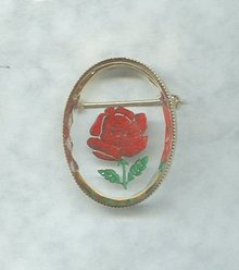 Vintage Reverse Painted  Rose Pin