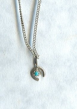 Tiny Turquoise & Silver Horseshoe Pendant w/Chain