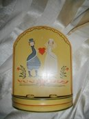 Vintage Hand Painted Enamelware Wedding Candleholder