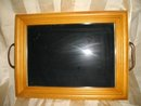 Wooden Serving Tray with Glass Top
